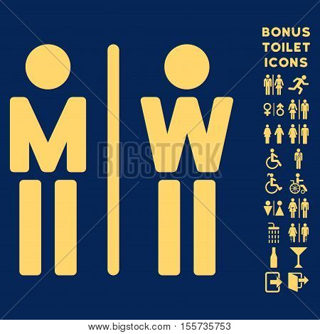 WC Persons icon and bonus male and woman lavatory symbols. Vector illustration style is flat iconic symbols, yellow color, blue background.
