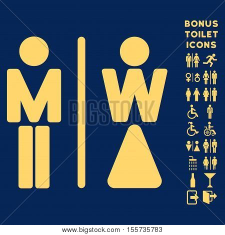 WC Persons icon and bonus male and woman WC symbols. Vector illustration style is flat iconic symbols, yellow color, blue background.