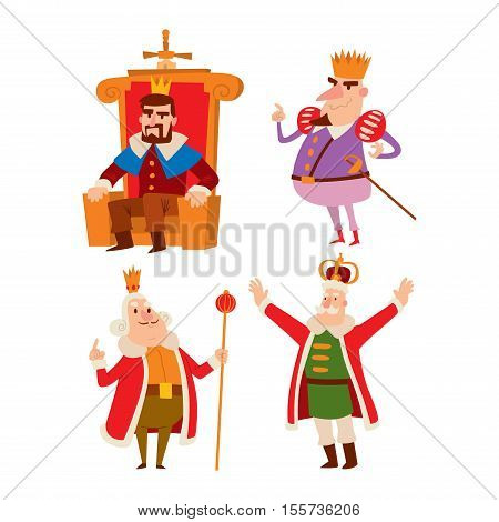 King cartoon illustration set. Fantasy royalty medieval kings cartoon monarch fun comic set. Fairytale prince costume kings cartoon, different kingdom male vector character with gold crown.