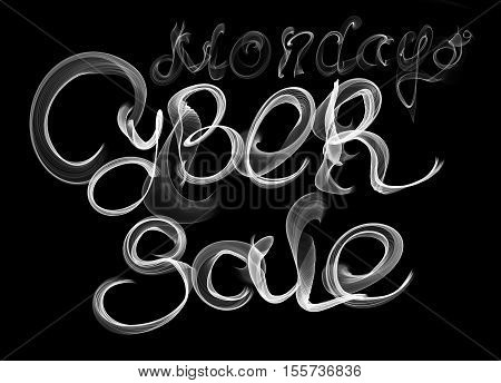 Cyber Monday Sale worls lettering written by smoke on black background. Isolated.