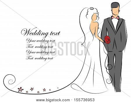 Silhouette of bride and groom, background, wedding invitation, the vector