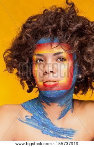 Afro American Woman With Square On Face On Yellow Background