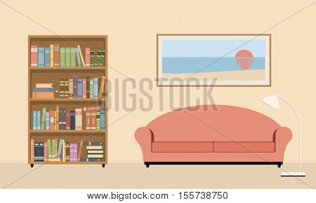 living room interior with sofa bookcase and lamp. Vector illustration on a beige background.