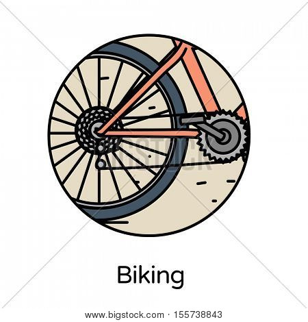 Biking icon - circle line icons collection. Travel, tourism, sports & free time activity concept.