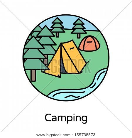 Camping icon - circle line icons collection. Travel, tourism, sports & free time activity concept.