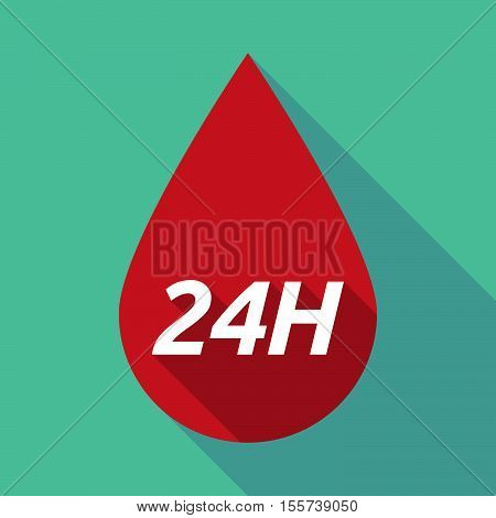 Long Shadow Blood Drop With    The Text 24H