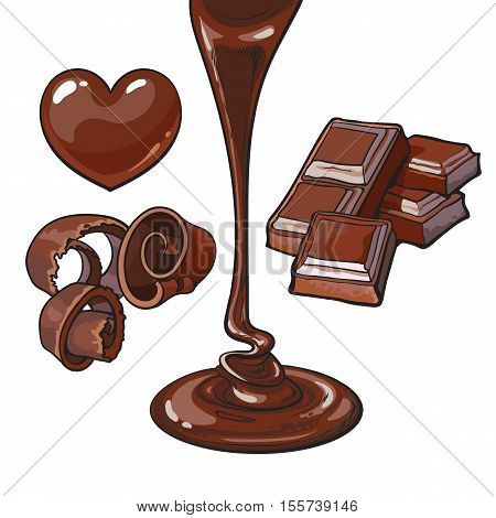 Set of chocolate - heart shaped candy, shaving, bar and liquid, sketch style vector illustrations isolated on white background. Chocolate flowing down, square pieces, shavings and candies