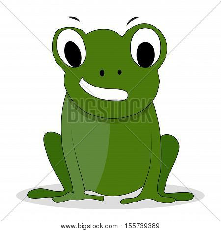 Character green frog cartoon. Cartoon animal frog prince and cartoon character. Vector illustration