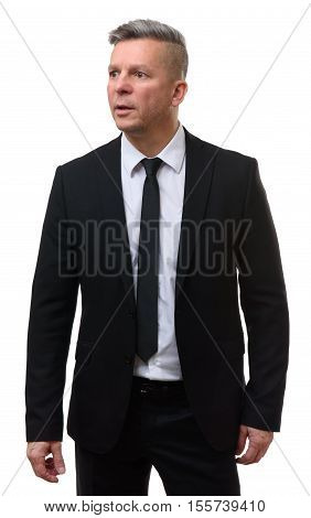 Shocked Middle Aged Businessman Isolated