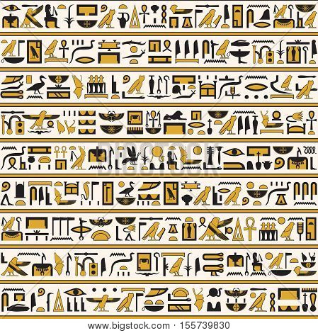 Ancient Egyptian hieroglyphs yellow-black color seamless horizontal