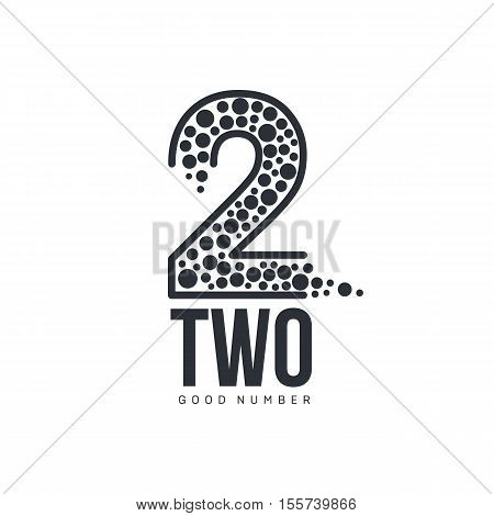 Black and white number two logo formed by abstract dot, vector illustrations isolated on white background. Black and white graphic number two abstract logotype template