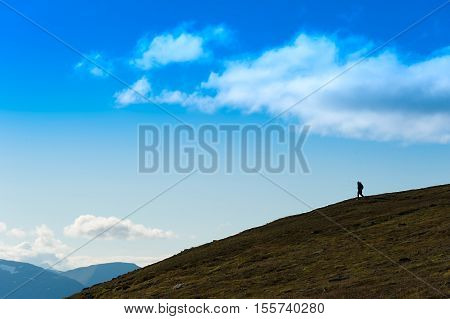 Traveller descending to ocean landscape backdrop hd