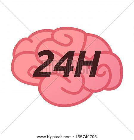 Isolated Brain Icon With    The Text 24H