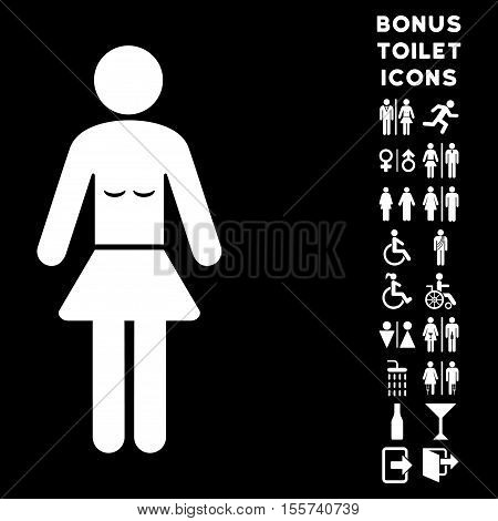 Lady icon and bonus male and female restroom symbols. Vector illustration style is flat iconic symbols, white color, black background.