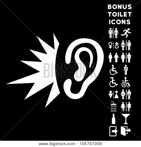 Listen Loud Sound icon and bonus man and woman WC symbols. Vector illustration style is flat iconic symbols, white color, black background.