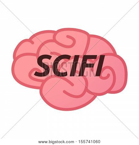 Isolated Brain Icon With    The Text Scifi