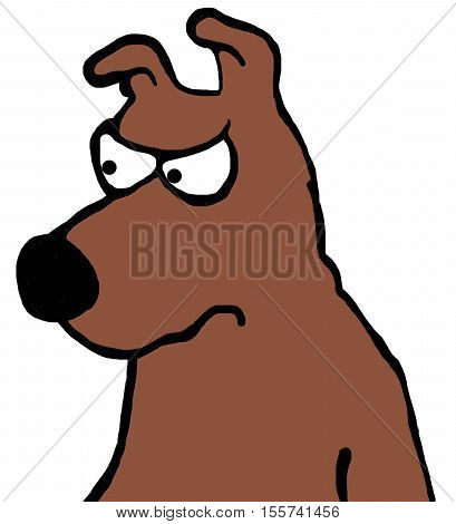 Color cartoon about an alert, but wary, brown dog.
