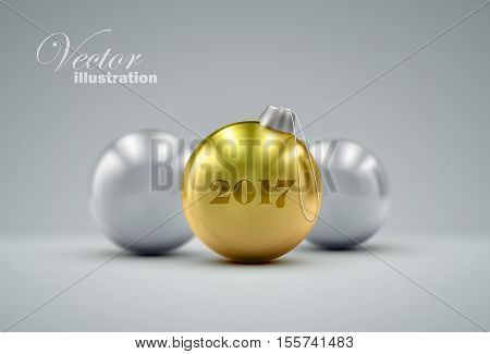 Christmas balls. Holiday vector illustration of traditional festive Happy New Year baubles. Merry Christmas and Happy New 2017 Year greeting card design element.