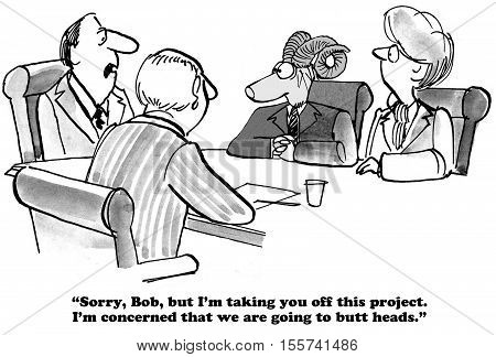 Black and white business cartoon about anticipating conflict.