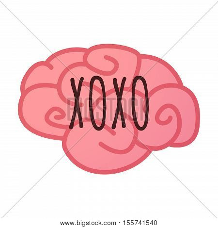 Isolated Brain Icon With    The Text Xoxo