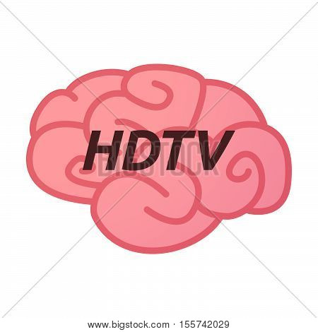 Isolated Brain Icon With    The Text Hdtv
