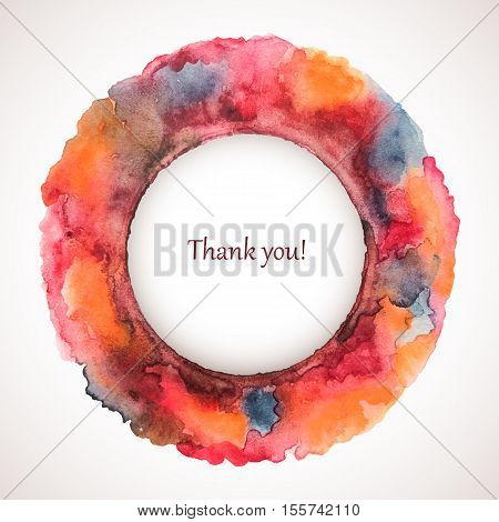 Vector watercolor holiday frame. Colorful abstract drawing . Autumn textute background. Saturated handmade blot. Thanksgiving Day