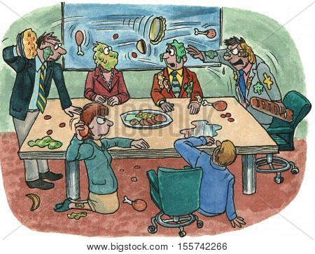 Color business illustration showing businesspeople in a meeting room having a food fight.