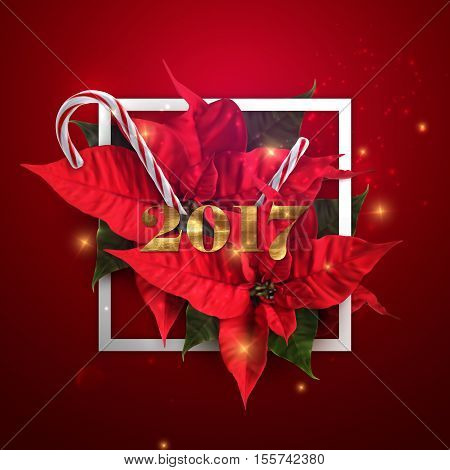 Happy New 2017 Year. Vector Holiday Illustration With Golden 2017 Label, Christmas Candy Cane, Sparkles And Poinsettia Flowers. Happy New 2017 Year Holiday Poster