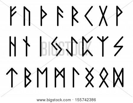Rune set of letters runes alphabet. Runic alphabet. Writing ancient. Futhark. Vector illustration