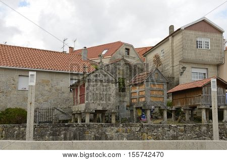 Houses and typical granaries in Combarro a village of the province of Pontevedra in the Galicia region of Spain.