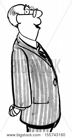 Black and white business illustration of older, balding businessman wearing a pin striped suit.