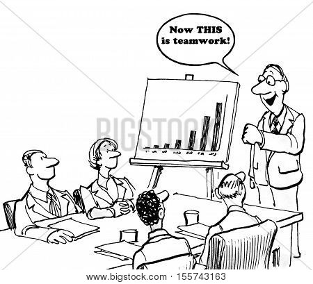 Black and white business cartoon of a chart showing increased sales and boss saying to team members, 'now, this is teamwork'.