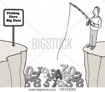 Black and white business illustration about 'fishing thru big data'.