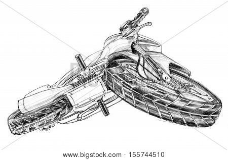Big bike bottom view and turn left pencil free hand sketch isolate on white background and clipping path.