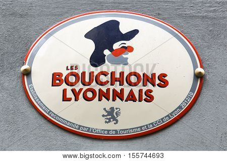 Lyon, France - October 12, 2016: Bouchons Lyonnais is a typical restaurant where you eat specialties from Lyon and the region