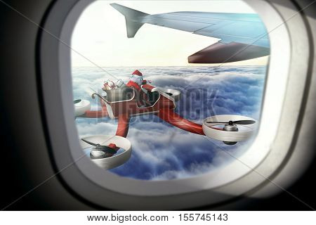 funny Santa on UAV drone for Christmas delivery