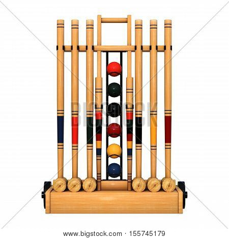 3D rendering of a croquet stand isolated on white background