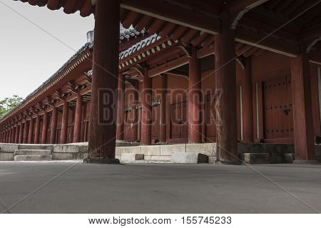 Seoul - October 21, 2016: Jeongjeon - The Main Hall Of The Jongmyo Shrine In Seoul, South Korea. It