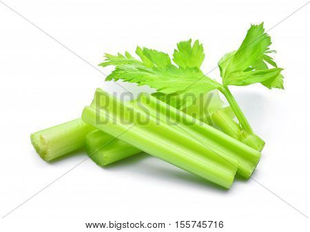 fresh celery with slice isolated on white