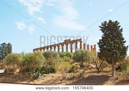 Nowadays the ancient Valley of the Temples is the large archaeological site surrounded by garden Agrigento Sicily Italy.