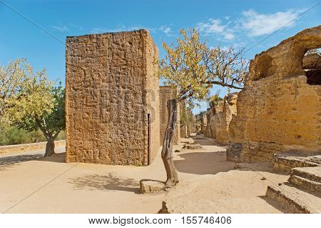 The Byzantine Sepultures and Arcosolia in archaeological site of Agrigento Sicily Italy.