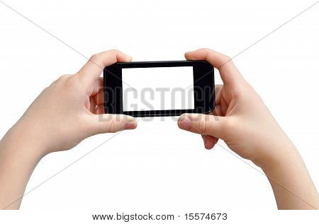Hands with smart phone
