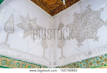 KAIROUAN TUNISIA - AUGUST 30 2015: The The carving on ganch in Zaouia Sidi Sahab (Barber's Mosque) on August 30 in Kairouan.
