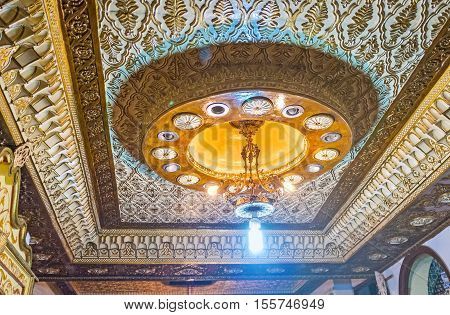 KAIROUAN TUNISIA - AUGUST 30 2015: The Mansion of Governor is famous for its splendid interiors created with different technicks of decoration including fretwork carving and painting on August 30 in Kairouan.
