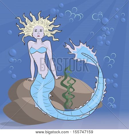 mermaid sitting on the ocean floor, eps10
