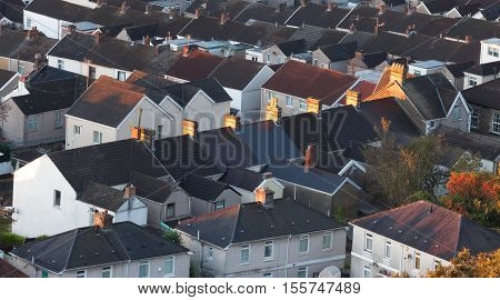 British houses Rows of terraced houses in South Wales, UK.