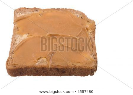 Slice Of Multigrain Bread And Peanut Butter