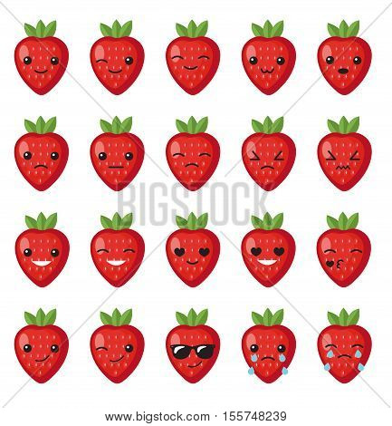 Set strawberry emotions face. Set strawberry smileys. Strawberries with Kawaii face on a white background. Strawberry cute set character mascot with different emotions. Strawberries stickers. Vector illustration