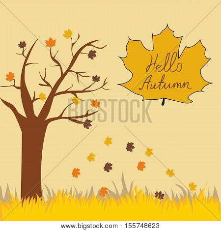 Hello Autumn Vector Illustration A Simple Style
