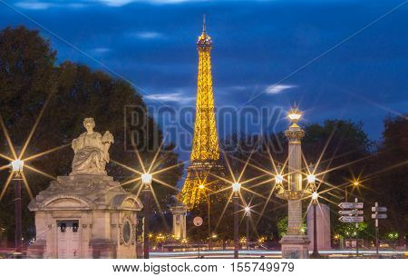 ParisFrance-November 06 2016 : The Eiffel tower is one of the most visited monument in the world.It located on the Champs de Mars in Paris.